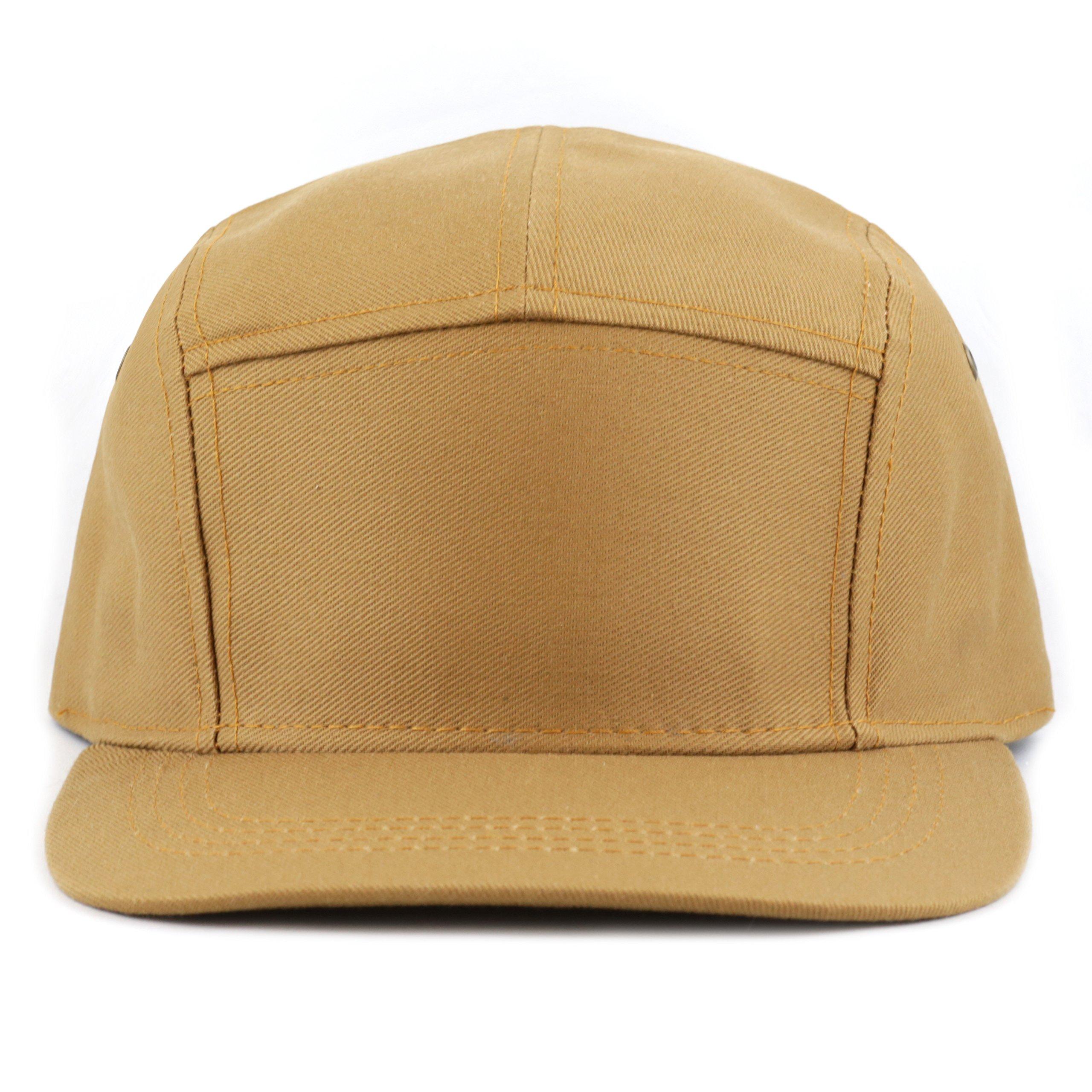 f5710832b1d THE HAT DEPOT Cotton Twill 5 Panel Flat Brim Genuine Leather Brass Biker  Board Cap