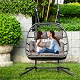 KOM Hammock Chairs Luxury 2 Person X-Large Double Swing Chair Wicker Hanging Egg Chair