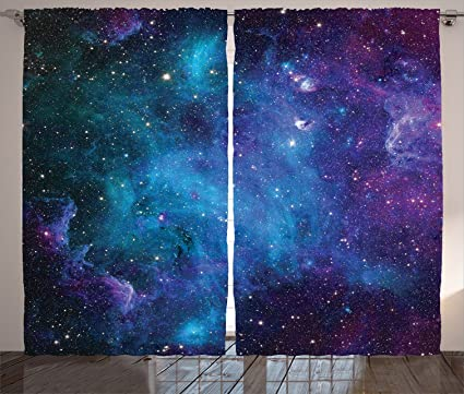 Space Decorations Curtains 2 Panel Set By Ambesonne Galaxy Stars In Celestial Astronomic Planets