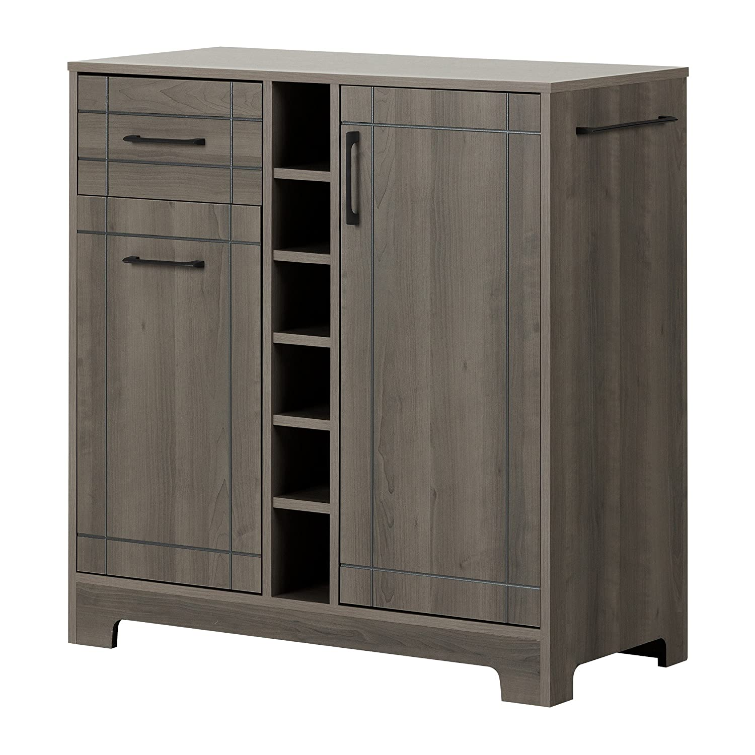 South Shore Furniture Vietti Bar Cabinet with Bottle and Glass Storage, Black Oak 9043770