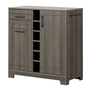 South Shore Vietti Bar Cabinet and Bottle Storage-Gray Maple