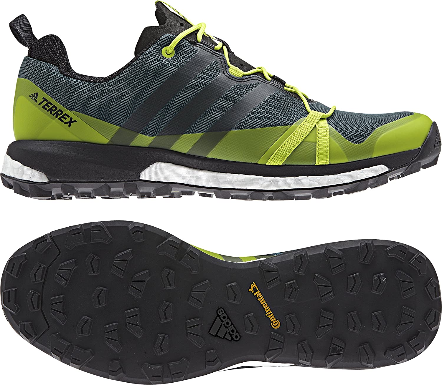 Image of adidas Men's Terrex Agravic Mystery Green/Black/Semi Solar Yellow Athletic Shoe Trail Running