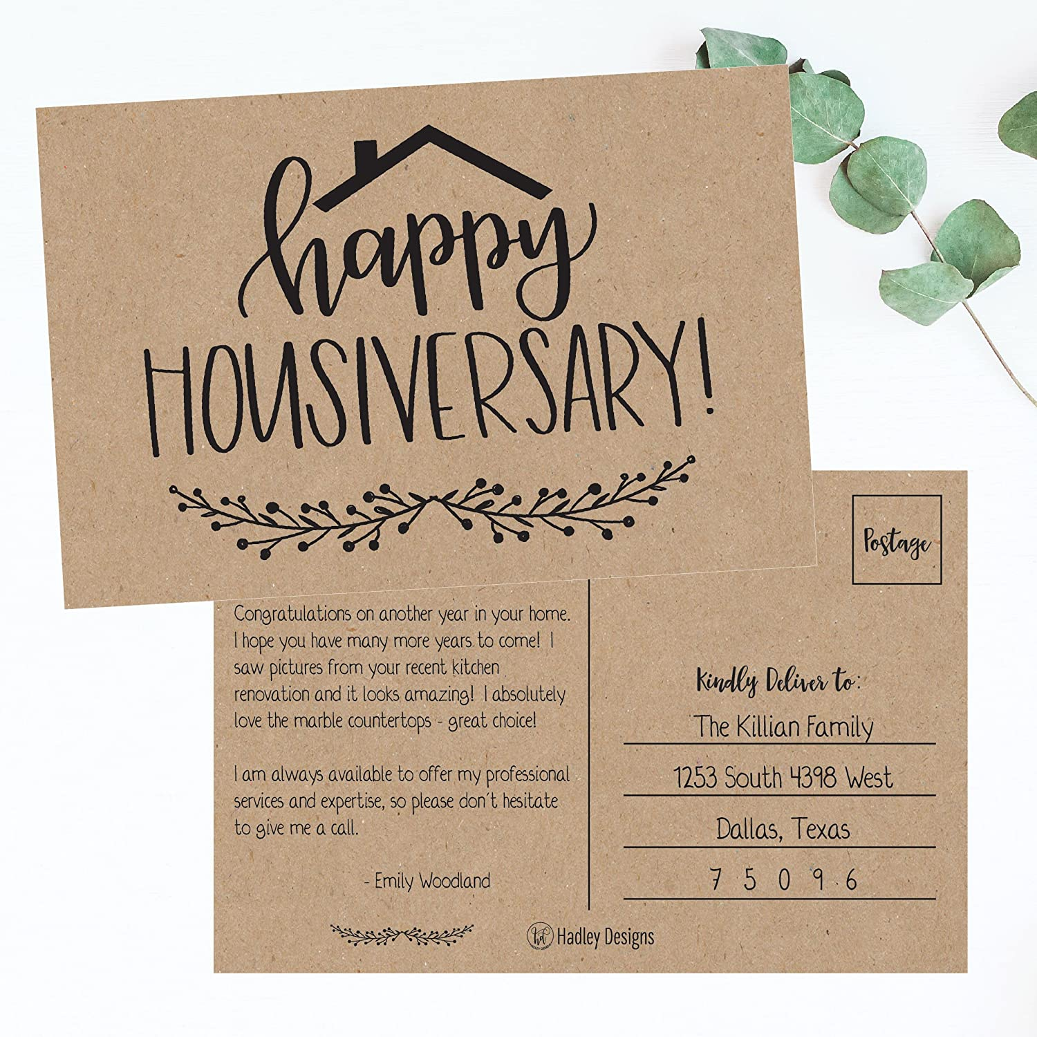 New Realtor Gifts For Clients Welcome Home Realtor Gifts Stationery Bulk Real Estate Thank You Notes Housiversary Card Blank Greeting House Postcards 25 Kraft Happy Home Anniversary Realtor Cards