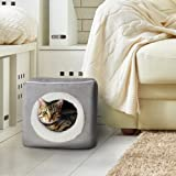 Cat Pet Bed, Cave- Soft Indoor Enclosed Covered Cavern/House for Cats, Kittens, and Small Pets with Removable Cushion…