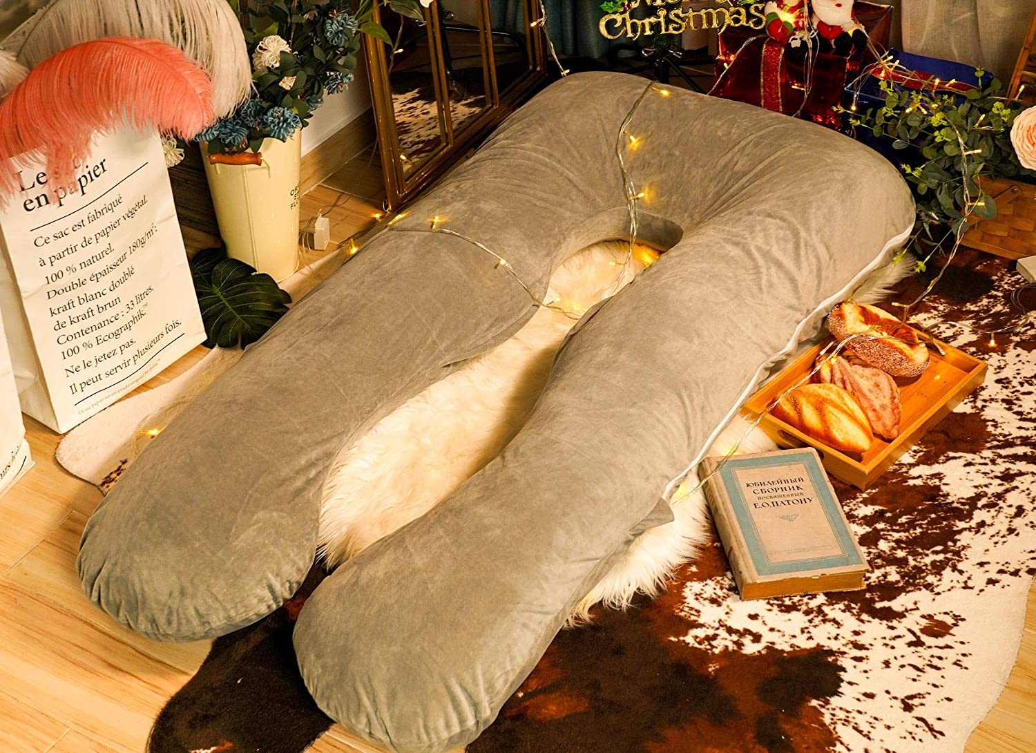 """with Velvet Cover Pregnancy Body Pillow Meiz 55/"""" Pregnancy Pillow for Nursing Baby and Back Support Classic Grey"""