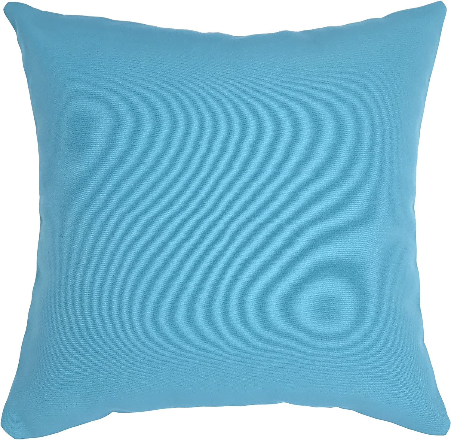 Do4U 320g Thick Polyester Fiber Waterproof Throw Pillow Case Cushion Cover for Travel, Indoor, Outdoor, Rattan Sofa, Bed 18 x 18 inches(Turquoise)
