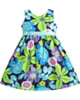 Sunny Fashion Girls Dress Blue Belt Flower Print Party Sundress