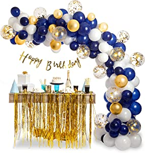 Balloon Arch Kit Garland Decorations - 94 pcs Latex Gold Confetti White Navy Blue Balloons 16ft, Oh Baby Theme, Bridal Shower Birthday Wedding Graduation Bachelorette Anniversary Party Backdrop Décor