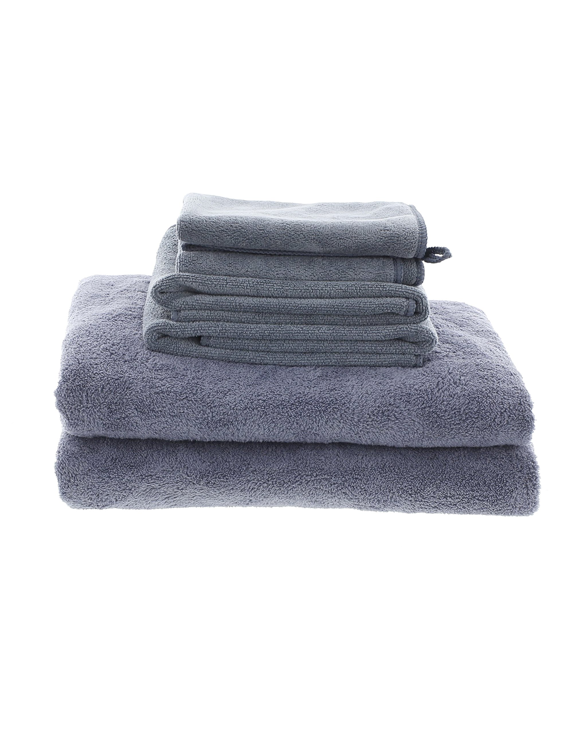 Best Grey MojaFiber Microfiber Bath Combo Bath Towel (2) | Hand Towel (2) | Face Cloth (2) by MojaWorks