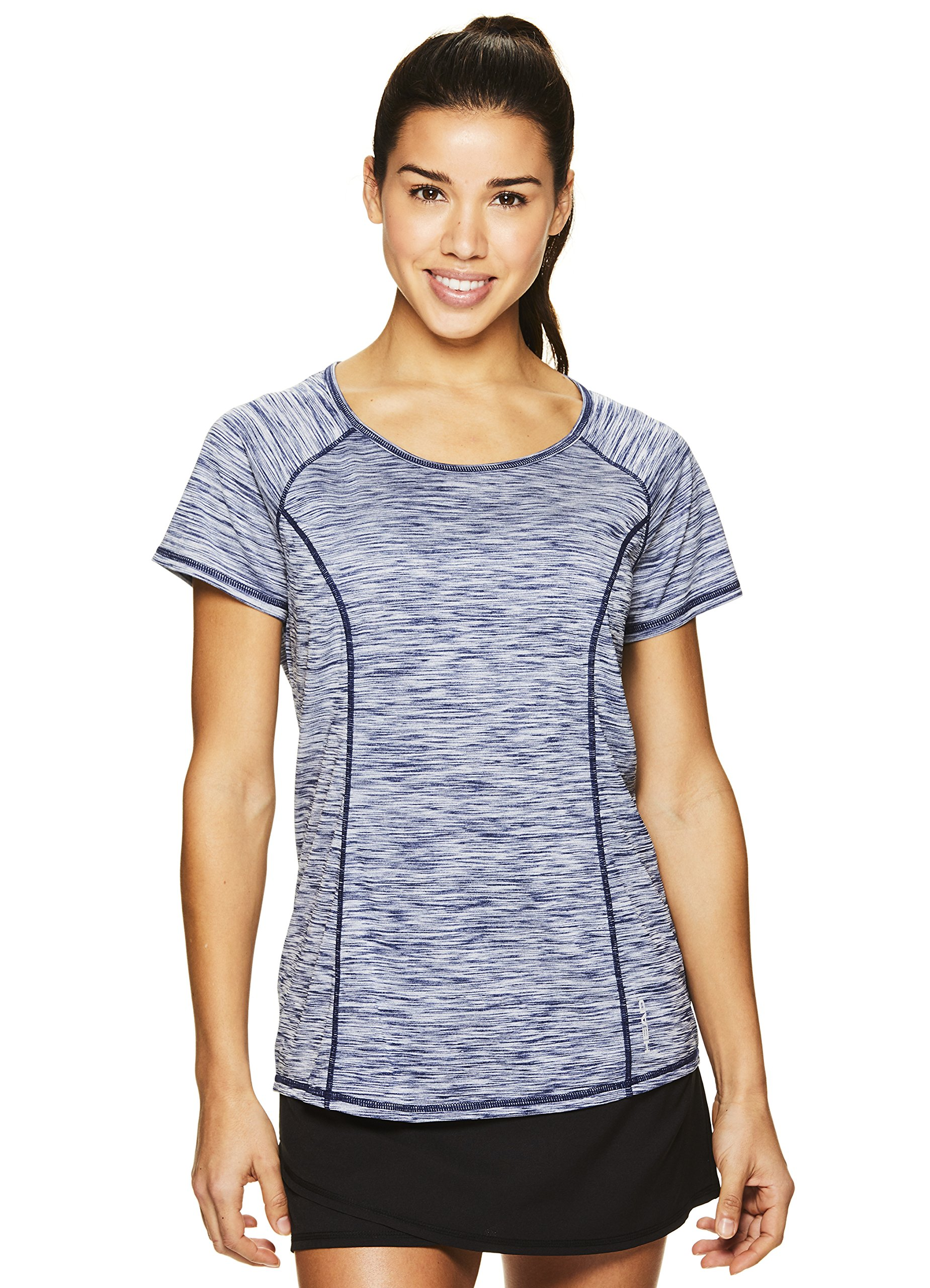 HEAD Women's Serena Short Sleeve Workout T-Shirt - Performance Crew Neck Activewear Top - Medieval Blue Heather, X-Small