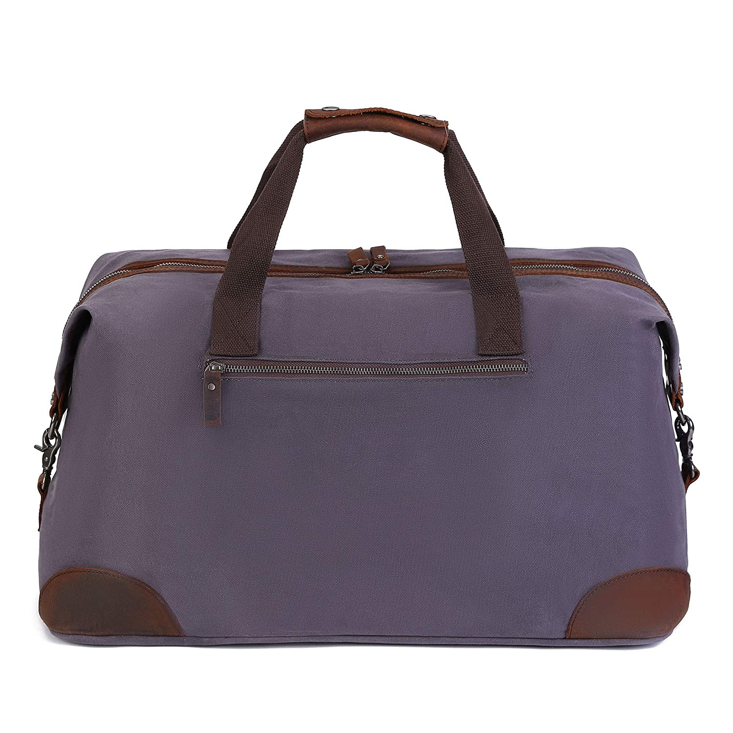 AmHoo 45l Duffel Bag Oversized Water-Resistant Canvas Waxed Carry On Travel Genuine Leather Weekend Bag for Men