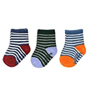 Carter's Baby Boys' Crew Socks (3 Pack), heathered multi/stripe, 3-12 Months