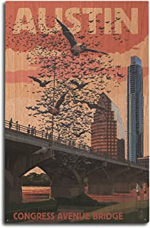 product image for Austin, Texas - Bats and Congress Avenue Bridge (10x15 Wood Wall Sign, Wall Decor Ready to Hang)