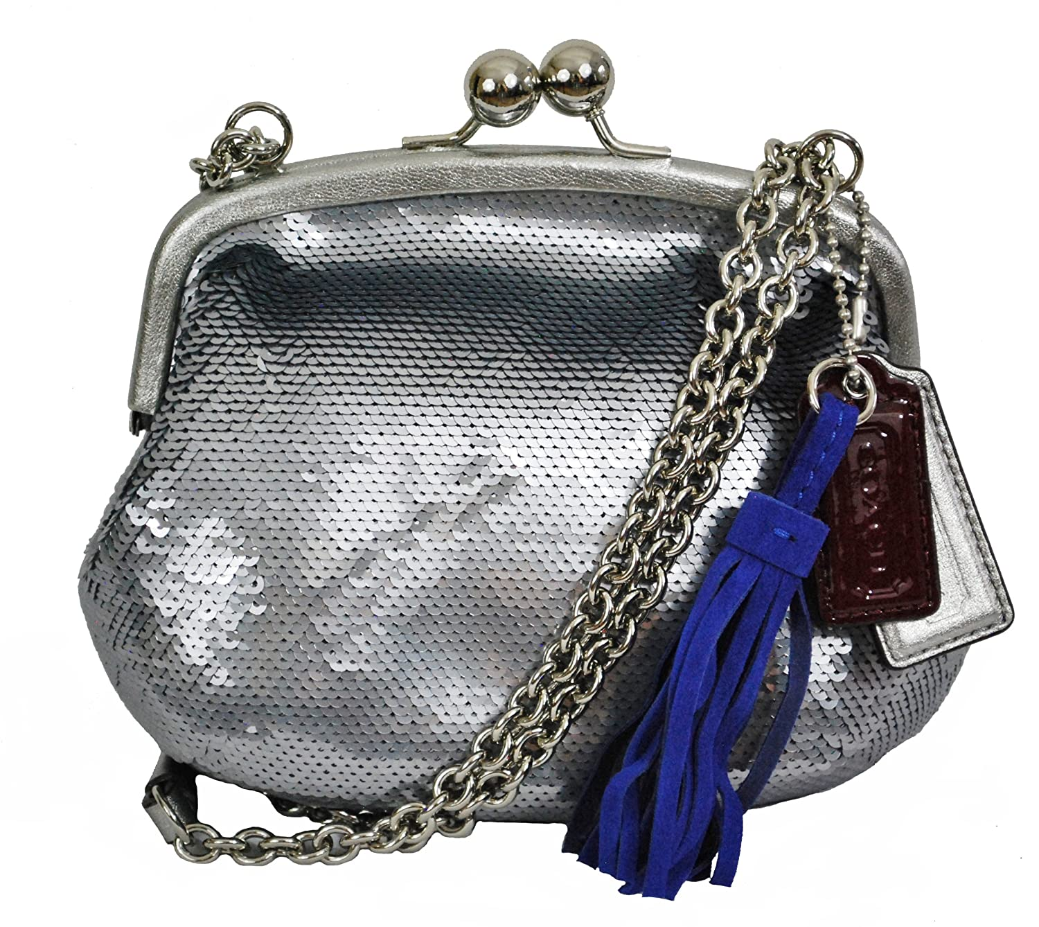 Coach 21218 Poppy Small Silver Pewter Sequin Evening Handbag Kelsey Black Gha Handbags Amazoncom