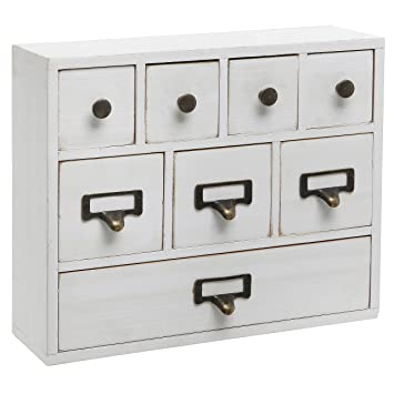 Small White Shabby Chic Wood Library Card Catalog Style Storage Cabinet / 8  Drawer Jewelry Organizer