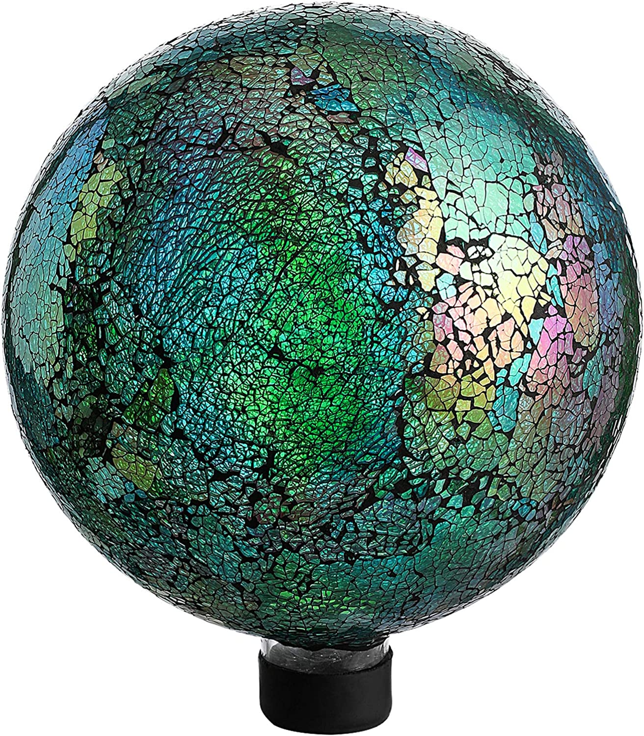 10 Inch Mosaic Colorful Gazing Ball,Iridescent Crackled Glass Mosaic Globe for Yard & Garden (Blue)