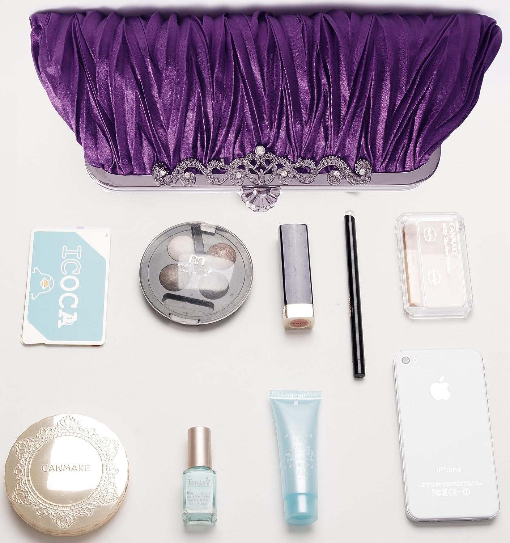 Evening Handbag Classic Satin Detachable Strap Purple Clutch Pulama