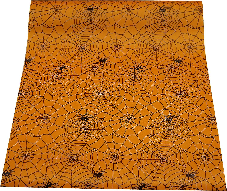 khevga Camino de Mesa Rollo Halloween Satén Naranja Negro 36 cm x ...