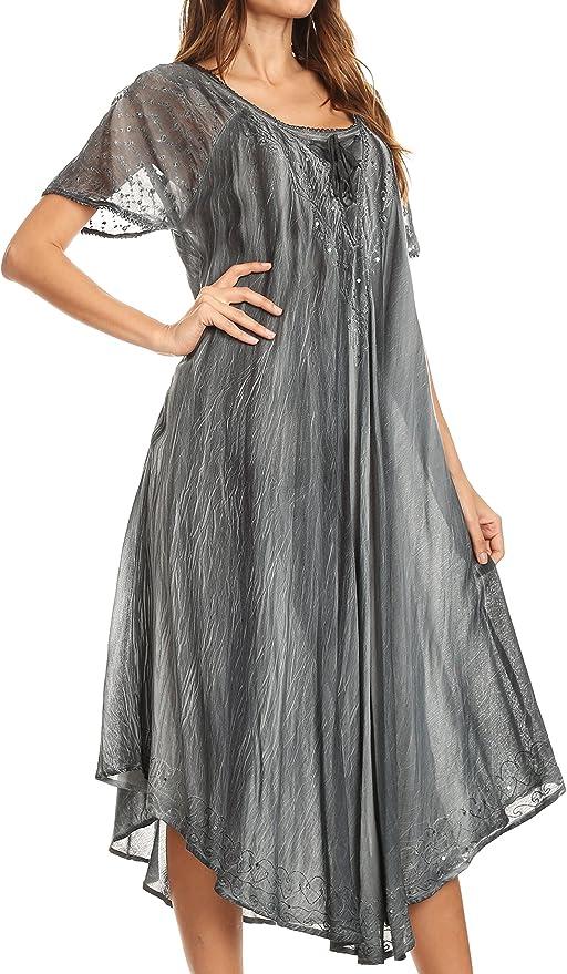 Sakkas Caftan Long//Robe de Plage Alexis brod/ée sans Manches Floral