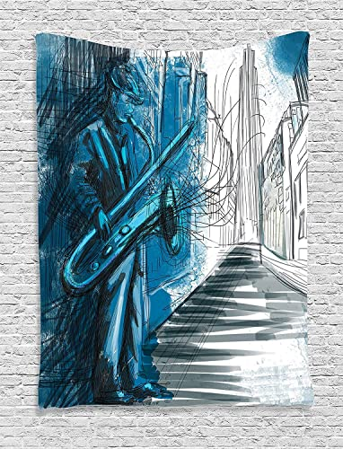 Ambesonne Music Tapestry, Saxophone Man Playing Solo in Street at Night Vibes Grunge Design Print, Wall Hanging for Bedroom Living Room Dorm Decor, 40 X 60 , Grey Blue