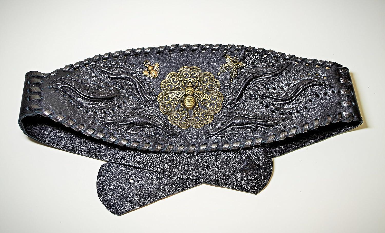 Women's Handmade Renaissance Black Leather Honey Bee Design Belt