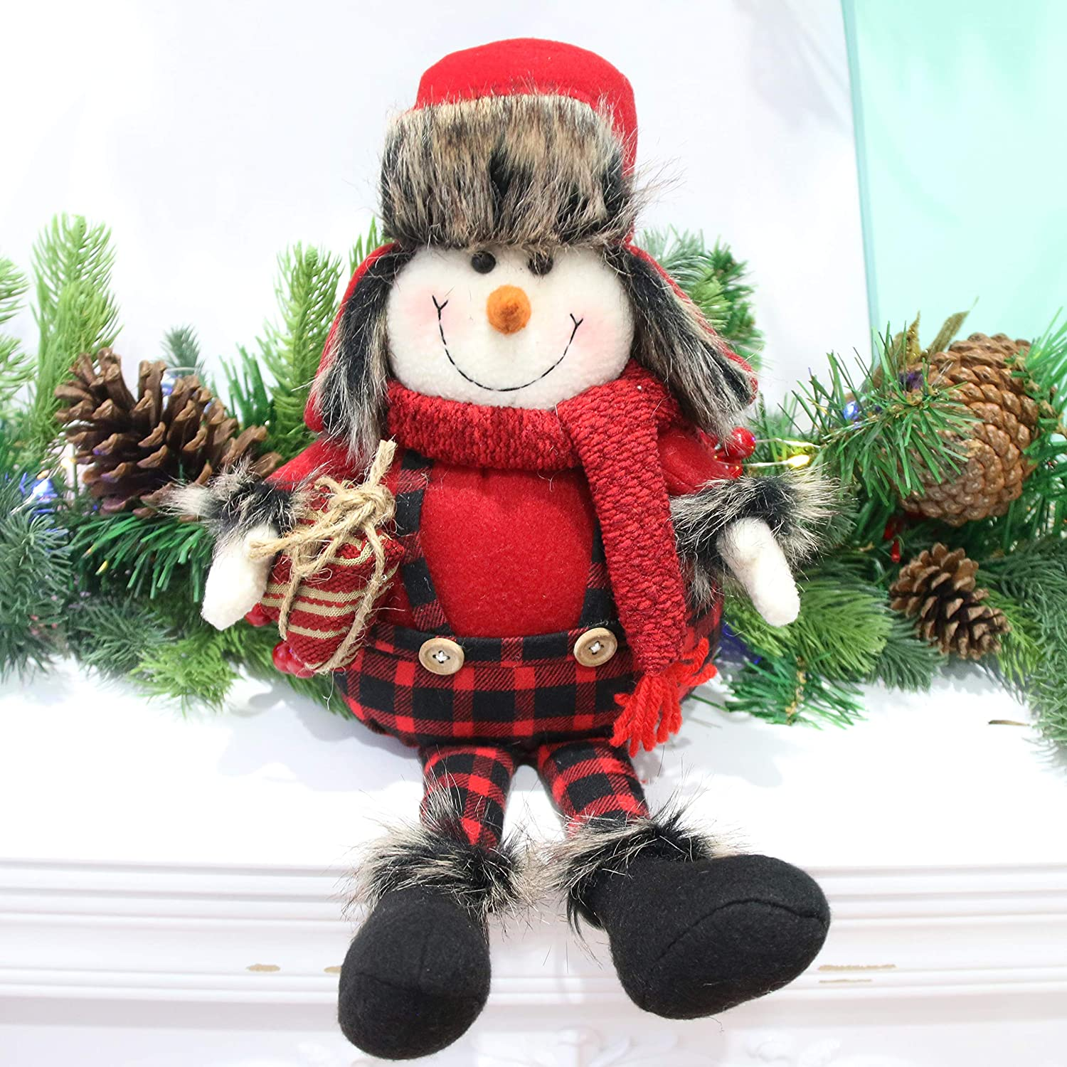 Houwsbaby Christmas Decoration Handmade Plush Snowman Figurines Hold a Gift in Overalls Home Desktop Collectible Stuffed Dolls Holiday Party Supplies Sitting Table Ornament, Red, 17'' (Snowman)