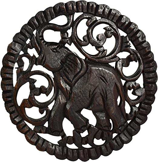 Serenity Elephant Hand Carved Round Teak Wood Wall Art 10 Inches Home Kitchen Amazon Com