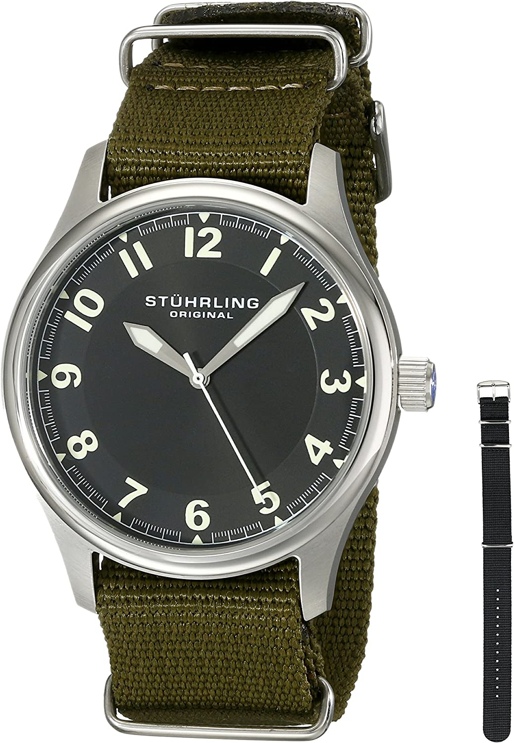 Stuhrling Original Men's 741.SET01 Aviator Stainless Steel Watch with Interchangeable Canvas Bands