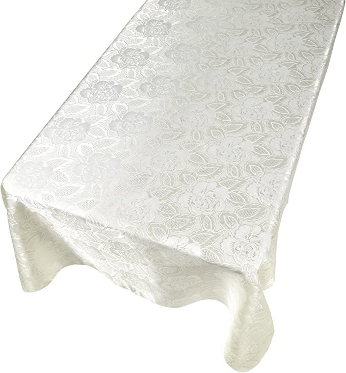 CarnationRose Damask 70 Round Fabric Tablecloth in Gold,