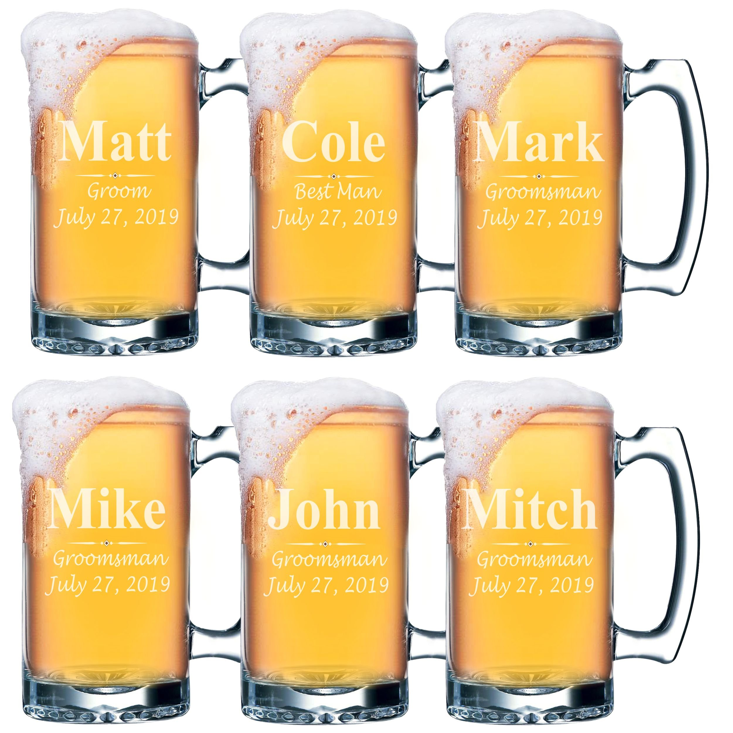 Set of 4, Set of 8 and more Custom Engraved Groomsmen 25 oz Beer Mugs - Personalized Wedding Party Gifts - 3 Lines Style (6)
