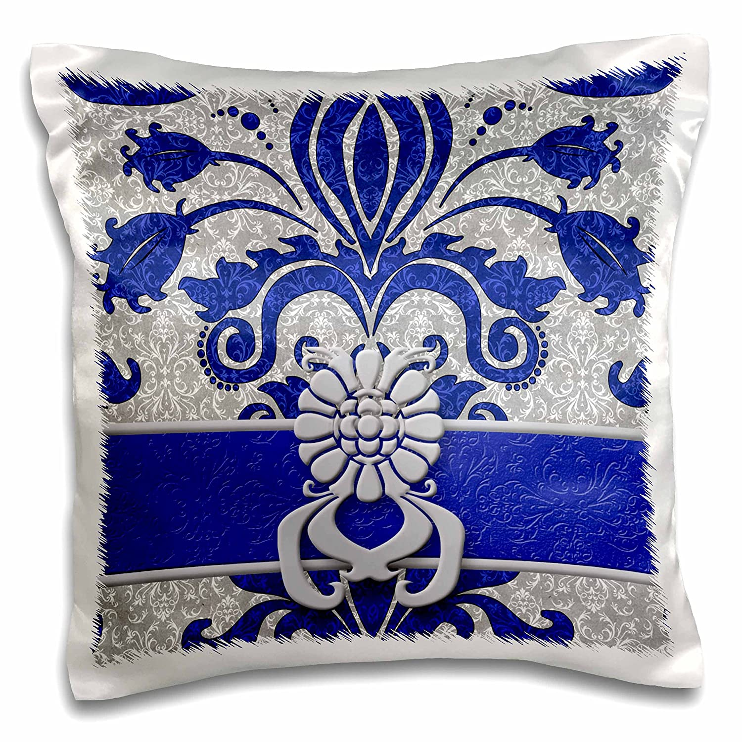 3D Rose pc_15450_1 Damask Royal Blue and Silver