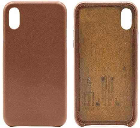 Amazon Com Genuine Cowhide Brown Leather Cell Phone Case For Iphone