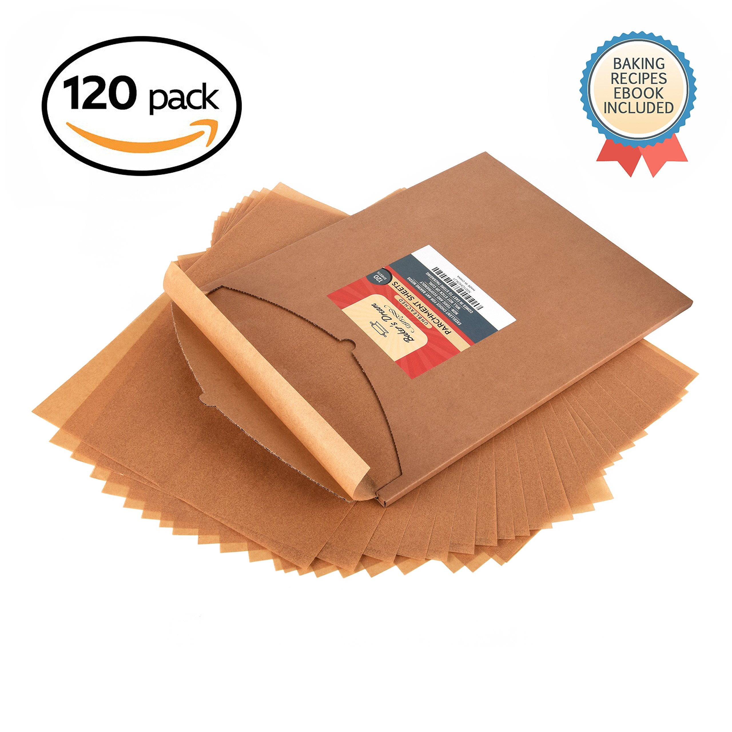 Parchment Paper Baking Sheets by Baker's Dream | Precut Non-Stick & Unbleached - Will Not Curl or Burn - Non-Toxic & Comes in Convenient Packaging - 12x16 Inch Pack of 120