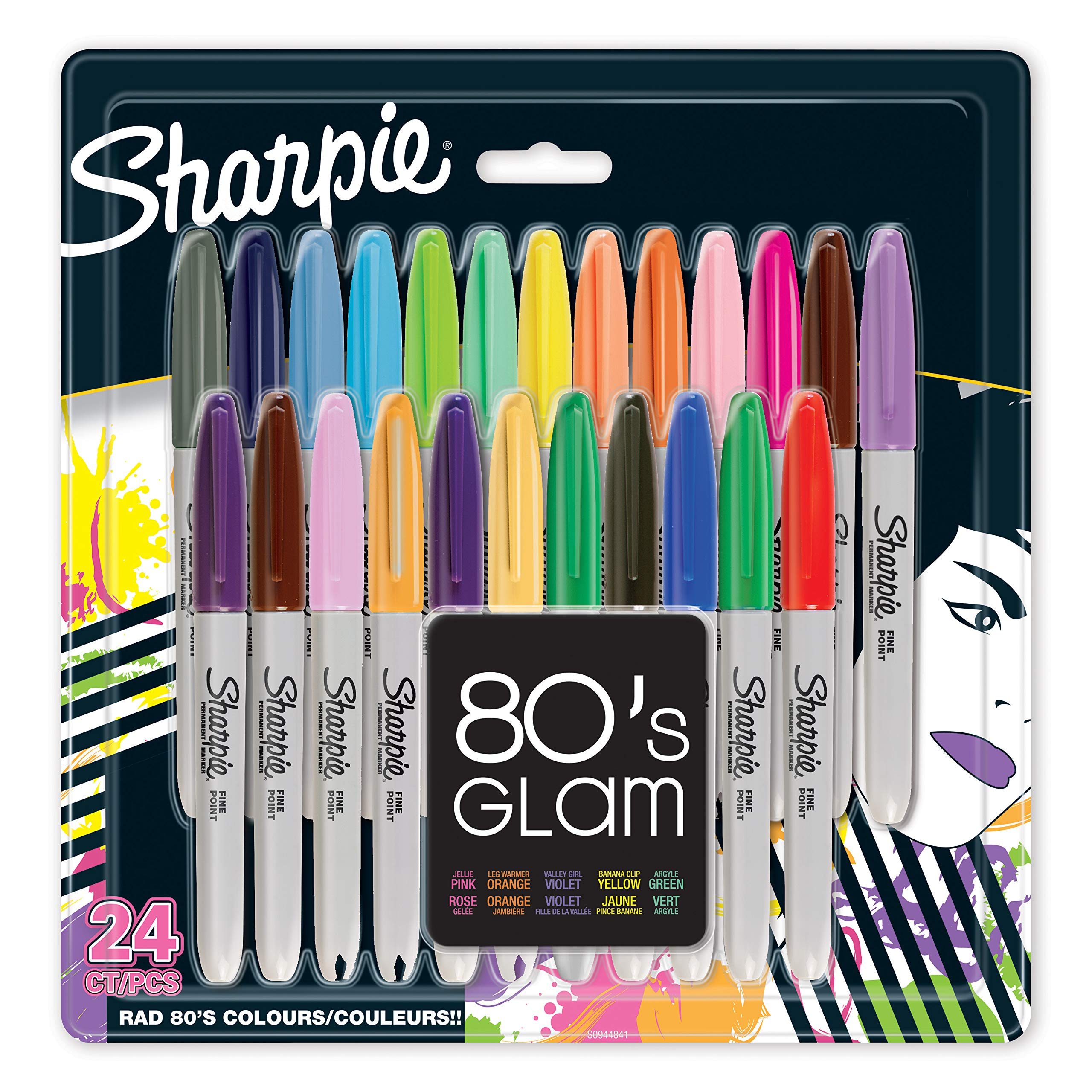 Sharpie Fine Point Permanent Marker 80's Glam , Pack of 24 by SHARPIE