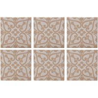 Maxwell & Williams Medina Drinks Coasters Set with Cork Backs, Agadir Print, Ceramic, Brown / Beige, 9 x 9 cm, Set of 6