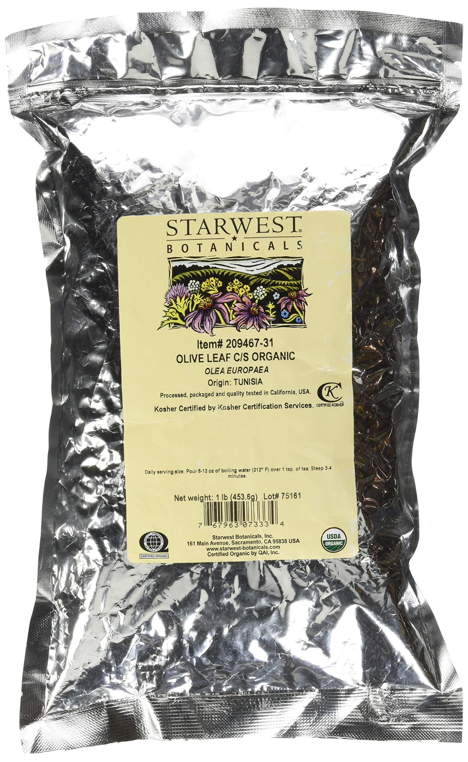 Starwest Botanicals Olive Leaf Cut and Sifted, 1 Pound