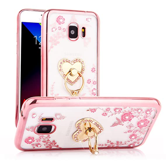 low priced 3518f d1422 Galaxy J2 Pro Case, Glitter Crystal Heart Floral Series - Slim Luxury Bling  Rhinestone Clear TPU Case with Ring Stand for Samsung Galaxy J2 Pro 2018 -  ...