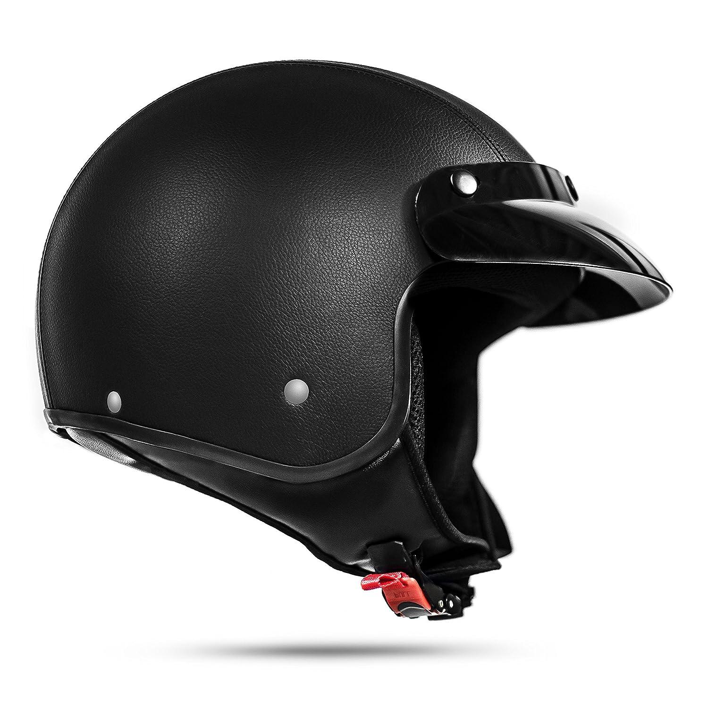 ATO Helme Pilotenhelm Jet Helm mit Leder bezogen und Brille ECE 2205  Gr/ö/ße L 59cm Bis 60cm