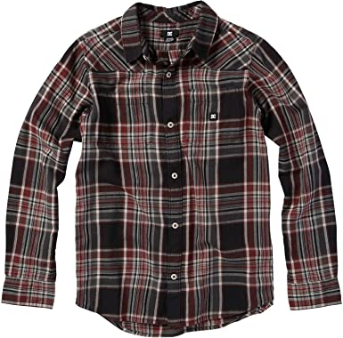 e6326139e Amazon.com: DC Ziprin Shirt - Long-Sleeve - Boys' Black Plaid, 6 ...