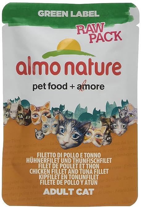 Almo nature - Pack de 24 filetes de gato y túnel para gatos, color verde