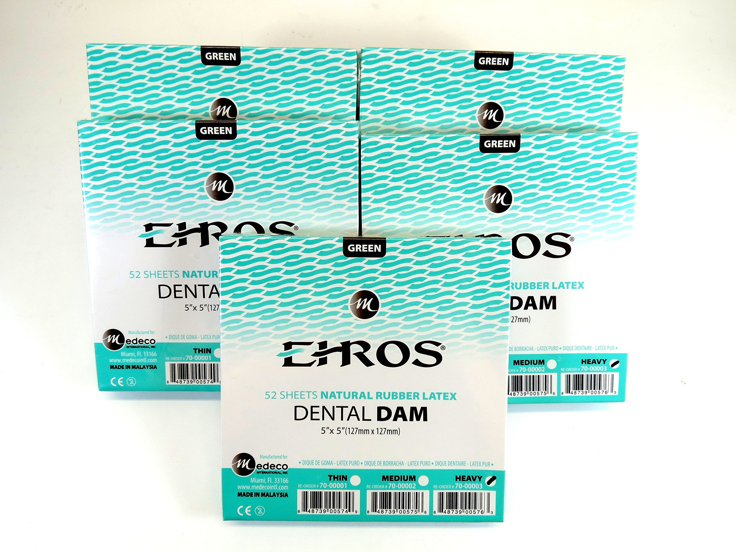 Rubber Dental Dam 5''x 5'' Heavy Green Kit / 5 Box Latex 52 Sheets Dique De Goma Natural EHROS
