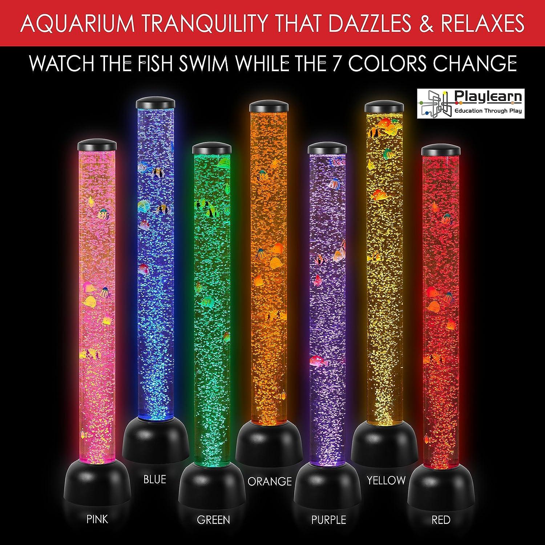 L/ámpara LED dise/ño de tubo con peces Playlearn 105/cm color negro