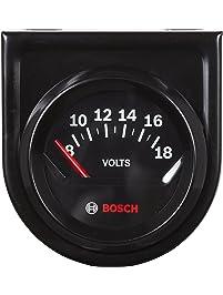 """Bosch SP0F000051 Style Line 2"""" Electrical Voltmeter Gauge (Black Dial Face, Black Bezel)"""