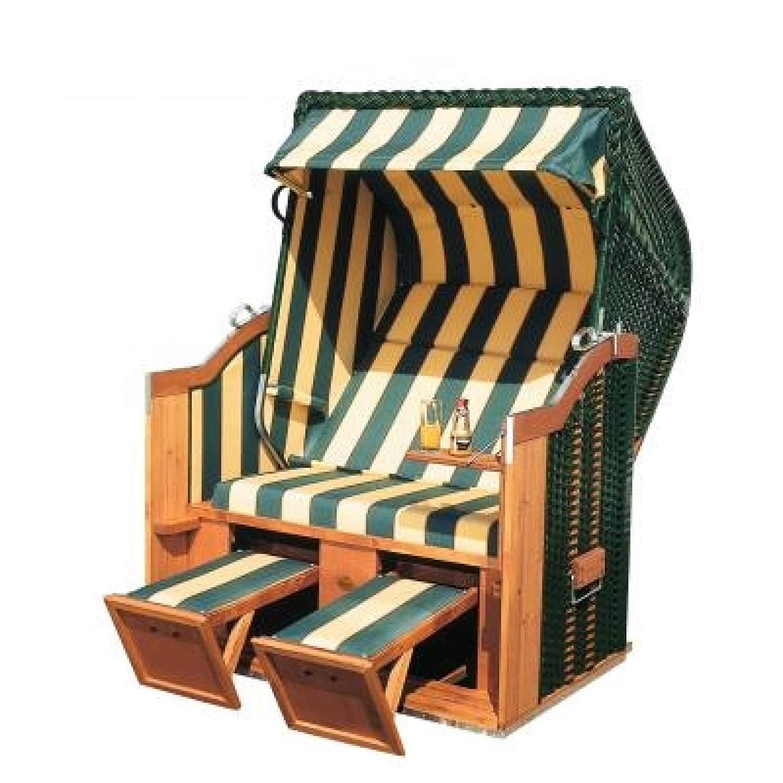 Sonnenpartner Strandkorb Classic 2 Sitzer Halbliegemodell grün/beige