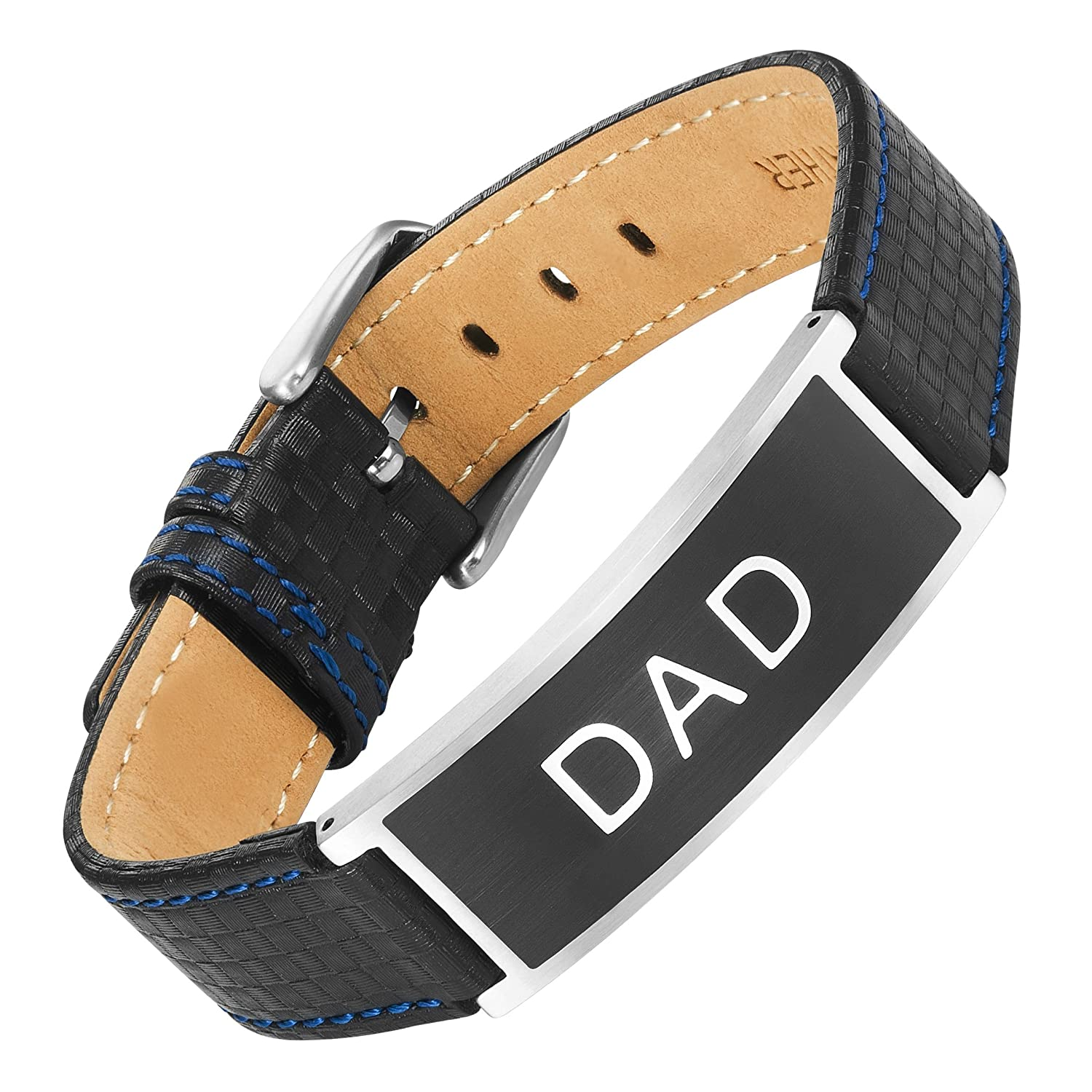 DAD Carbon Fiber Effect Genuine Leather Bracelet Engraved Love You Dad with Blue Top Stitching Willis Judd L0160