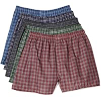 Fruit of the Loom Men's Woven Tartan and Plaid Boxer 5-Pack