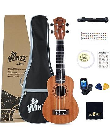 Winzz Soprano Ukelele de Caoba 21 Pulgadas con Cuerdas Aquila de Nylon Kit de Iniciación para