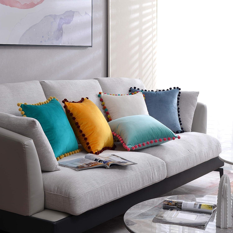 DOKOT Fundas de Cojines 45x45 cm Fundas de Almohada Terciopelo Decorativos con Pompón para Sofas Cama Dormitorio Auto Salon Blanco