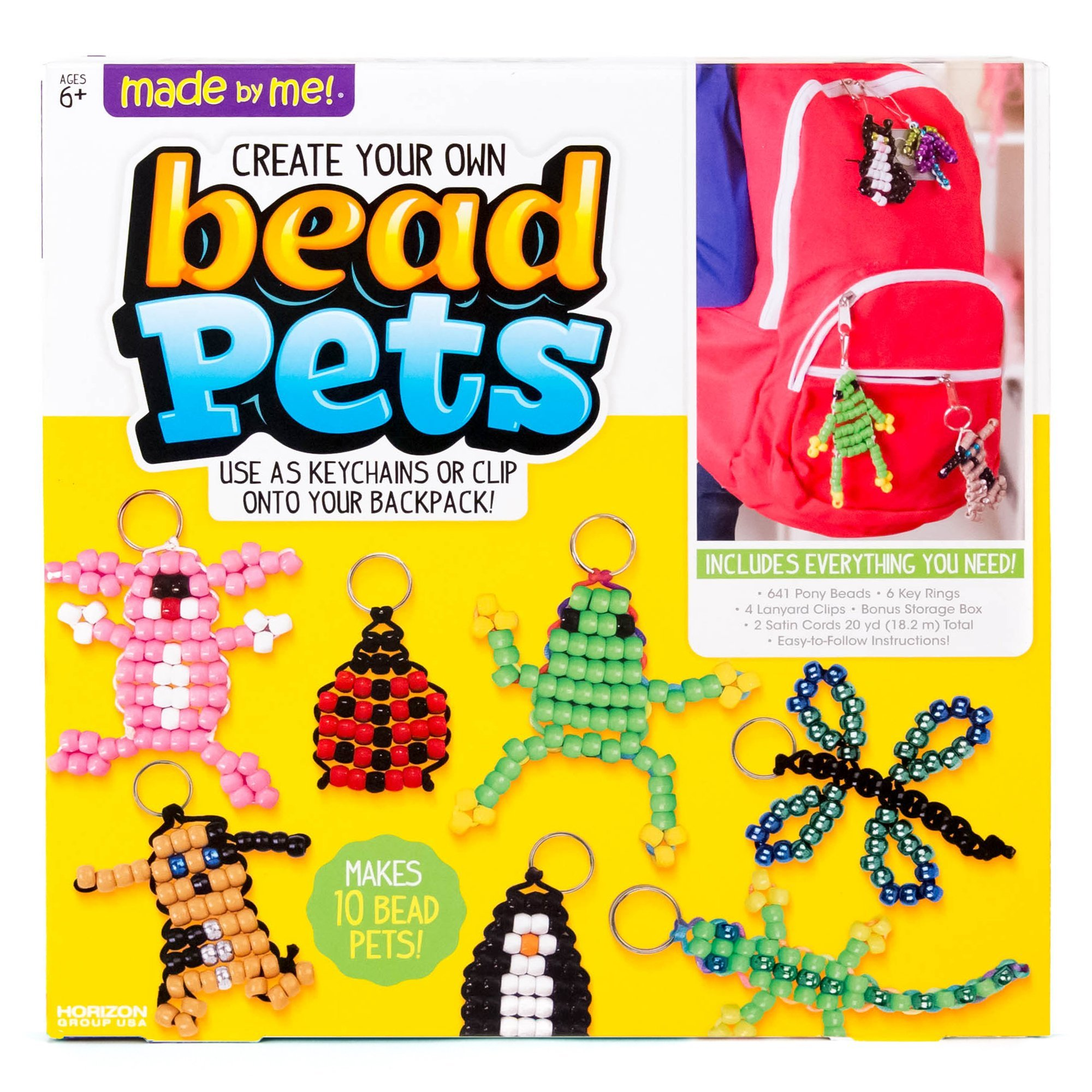 Made By Me Create Your Own Bead Pets by Horizon Group USA, Includes Over 600 Pony Beads, 6 Key Rings, Storage Box & Much More by Made By Me