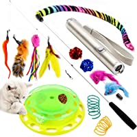 Youngever Deluxe Cat Toys Assortment, Cat Play Station, Teaser Wand with Refill Natural Feathers, 2 in 1 LED Cat Laser, Cat Springs, Crinkle Balls, Fluffy Mouse for Cat, Kitten